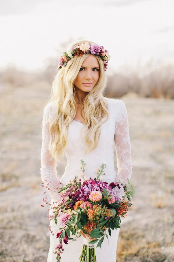 bohemian-bride-in-a-lace-sleeve-wedding-dress